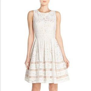 Eliza J White Fit and Flare Dress, Size 8